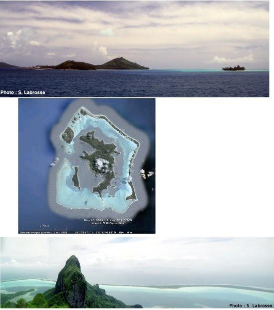 Vue de Bora Bora depuis un bateau sortant vers la passe (haut) et vue globale de l'île (centre) et vue sur le point culminant et le lagon (bas)