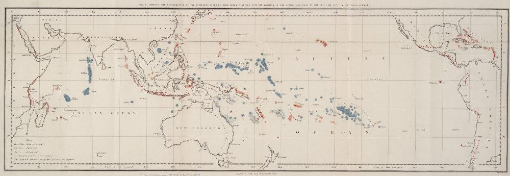 Distribution de récifs coralliens proposée par Darwin (1842)