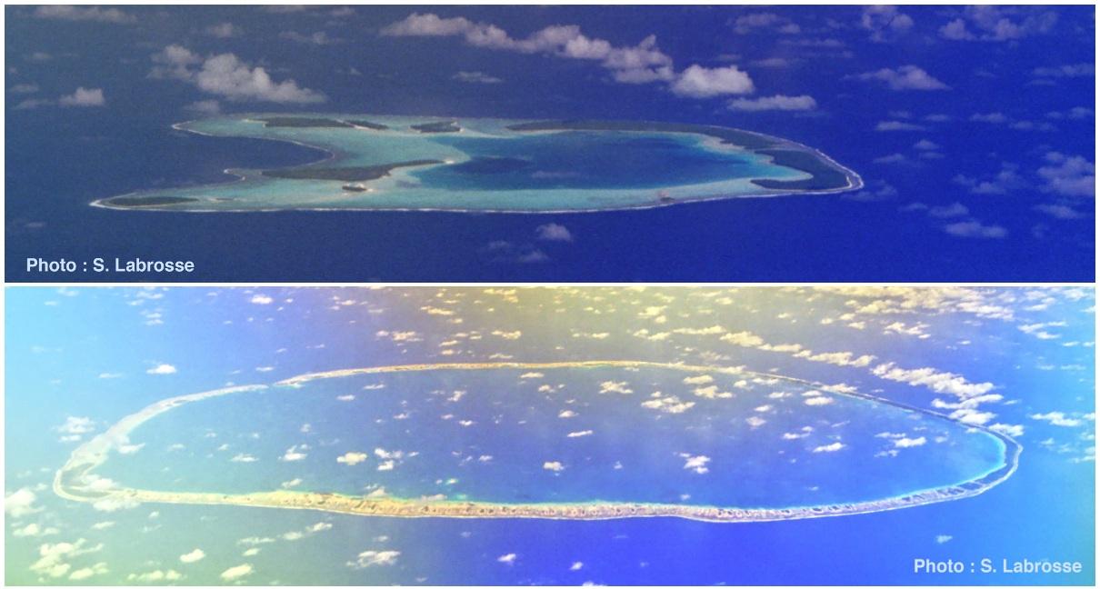 Les atolls Tetiaroa (haut, îles du vent, Polynésie Française) et Tikehau (bas, Tuamotu, Polynésie Française) vus d'avion