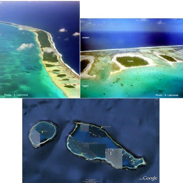 Détails des atolls de Rangiroa (ciel immense en paumotu, le langage local  dans l'archipel des Tuamotu (Polynésie française) et Tikehau