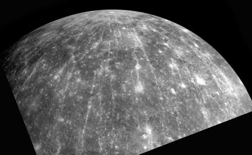 Hokusai, cratère à rayures claires sur Mercure