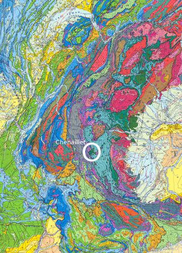 Localisation du Chenaillet sur fond de carte géologique de la France au millionième