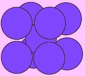 Exemple d'empilement compact de sphères de même taille (comparable à celui des oranges chez l'épicier)