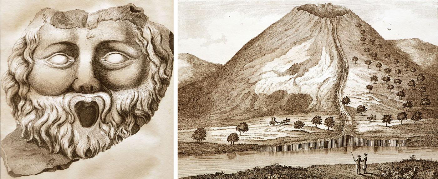 Roche volcanique taillée et volcan représentés sur des gravures du 18ème siècle (Faujas de Saint-Fond, 1778)