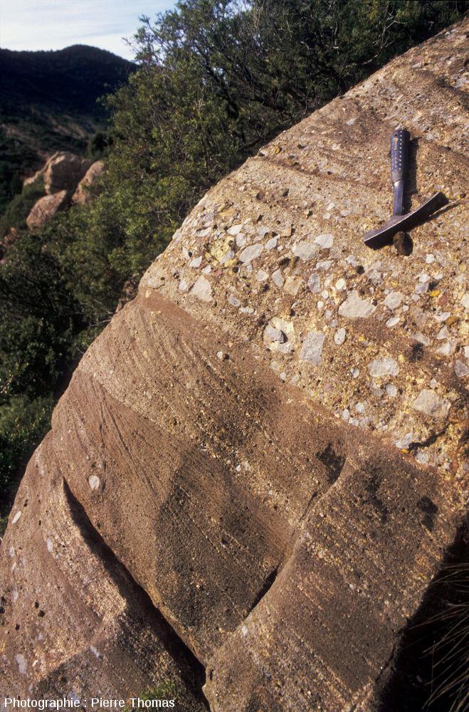 Exemple d'affleurement de roche détritique dans les Corbières (Aude)