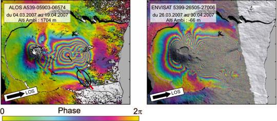 Effet de la longueur d'onde du radar du satellite – Piton de la Fournaise, avril 2007