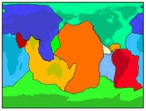 Les 12 grandes plaques tectoniques (carte en projection cylindrique)