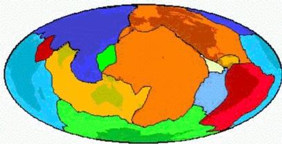 Les 12 grandes plaques tectoniques (carte en projection Mollweide)