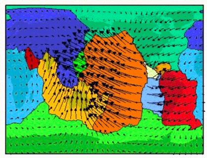 Les vitesses des 12 grandes plaques tectoniques (carte en projection cylindrique)