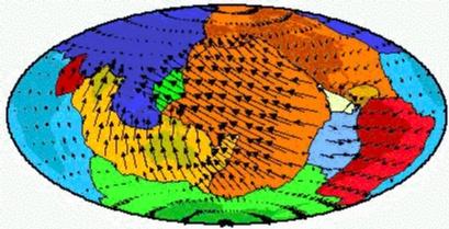 Les vitesses des 12 grandes plaques tectoniques (carte en projection Mollweide référentiel points chauds)