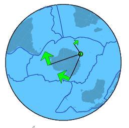 Les pôles de rotation des plaques (carte en projection Nord et Sud)