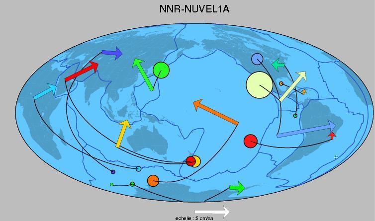 Les pôles de rotation des plaques (carte en projection Mollweide)