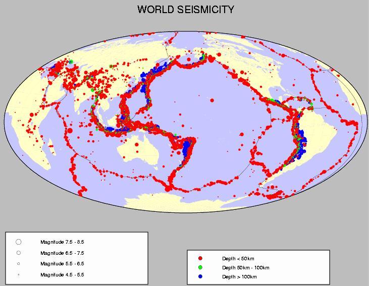 Carte de la sismicité mondiale