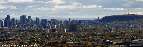 Panorama de Montréal avec les pentes boisées du Mont Royal à droite