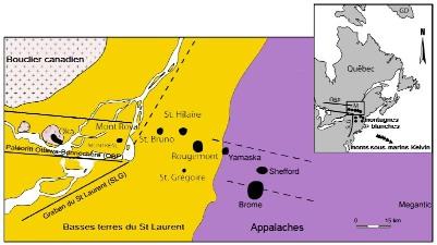Carte des collines montérégiennes dans leur contexte géologique régional