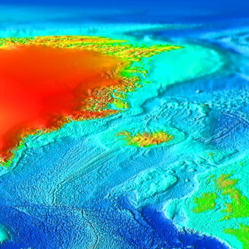 Carte topographique de l'Atlantique Nord