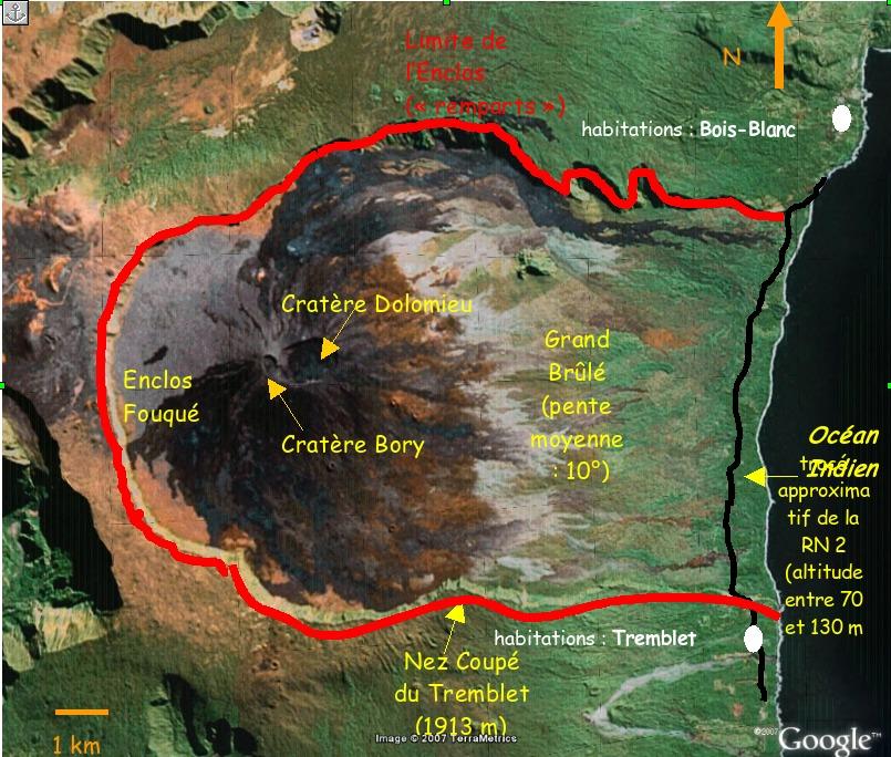 Quelques repères géographiques: le Piton de la Fournaise (La Réunion)