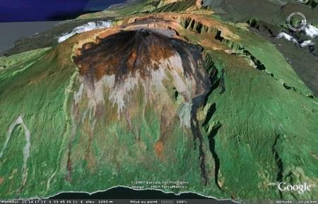 Le Piton de la Fournaise (La Réunion): vue 3D du flan oriental