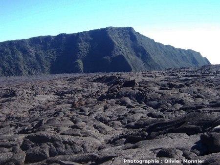 Surface cordée d'une coulée pahoehoe dans le Massif du Piton de la Fournaise, ici dans l'Enclos (La Réunion)