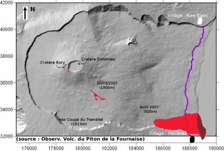 Les secteurs du Massif de la Fournaise (La Réunion) affectés par l'éruption d'avril 2007