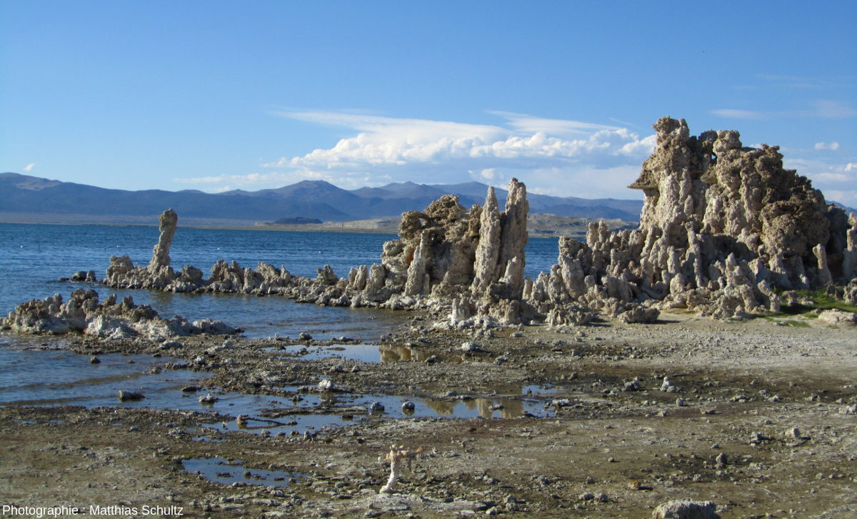 Tufas émergés du lac Mono avec les pieds dans l'eau, Grand Bassin, Californie