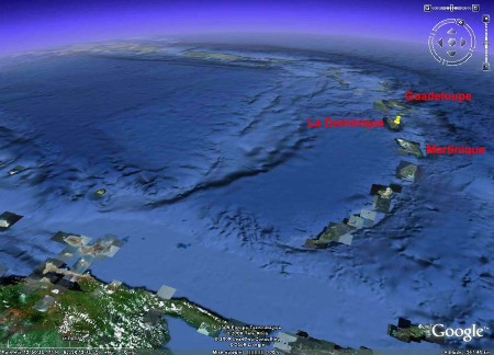 Image Google Earth de l'arc des Petites Antilles