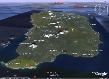 Vue générale Google Earth de la Dominique, Antilles