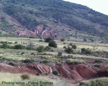 La Lieude, vue d'ensemble des terrains permiens du bassin de Lodève