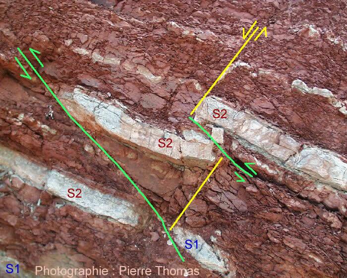 Schéma interprétatif d'une zone décimétrique de l'affleurement de la Lieude