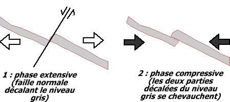 Schéma interprétatif des structures observées sur l'affleurement de la Lieude