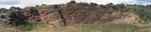 Vue d'ensemble de l'affleurement du Mas d'Alary en 2004 (bassin de Lodève, Hérault)