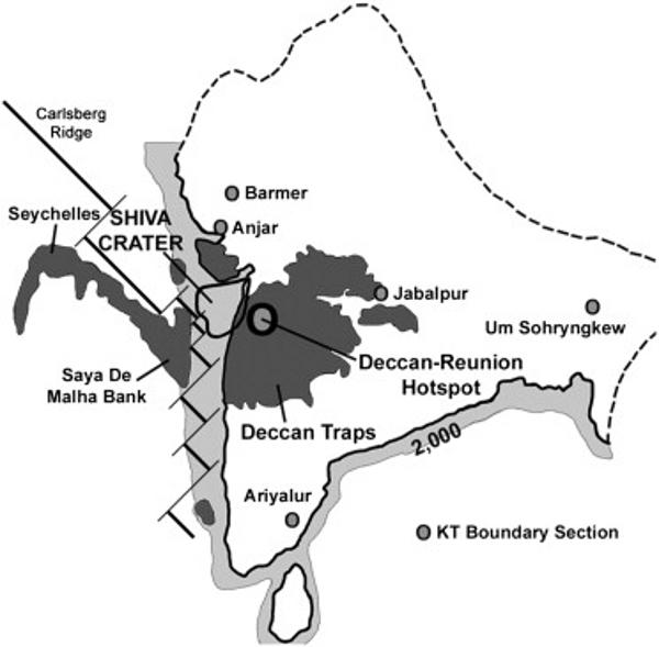 Schéma paléogéographique de l'Inde et des Seychelles vers 65Ma, montrant l'extension des laves du Deccan et des Seychelles et la reconstitution du cratère Shiva