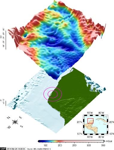 Anomalies gravimétriques de Bouguer, brutes, de la péninsule du Yucatan