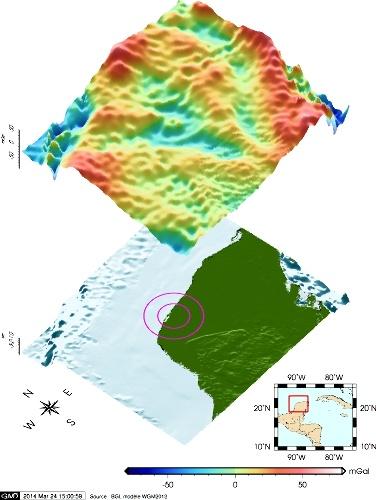 Anomalies isostatiques , anomalies de Bouguer corrigées de l'effet isostatique, de la péninsule du Yucatan