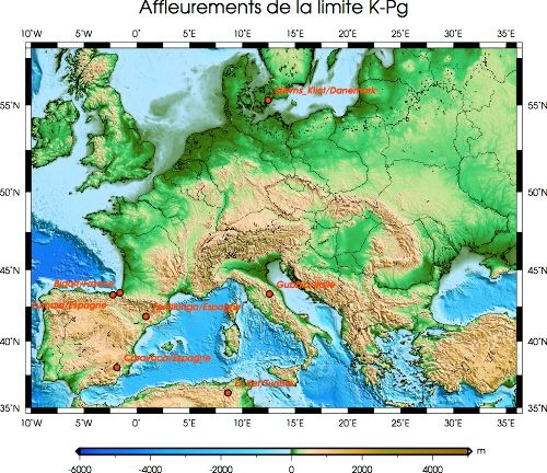 Quelques affleurements de référence de la limite K-Pg en Europe et au Maghreb