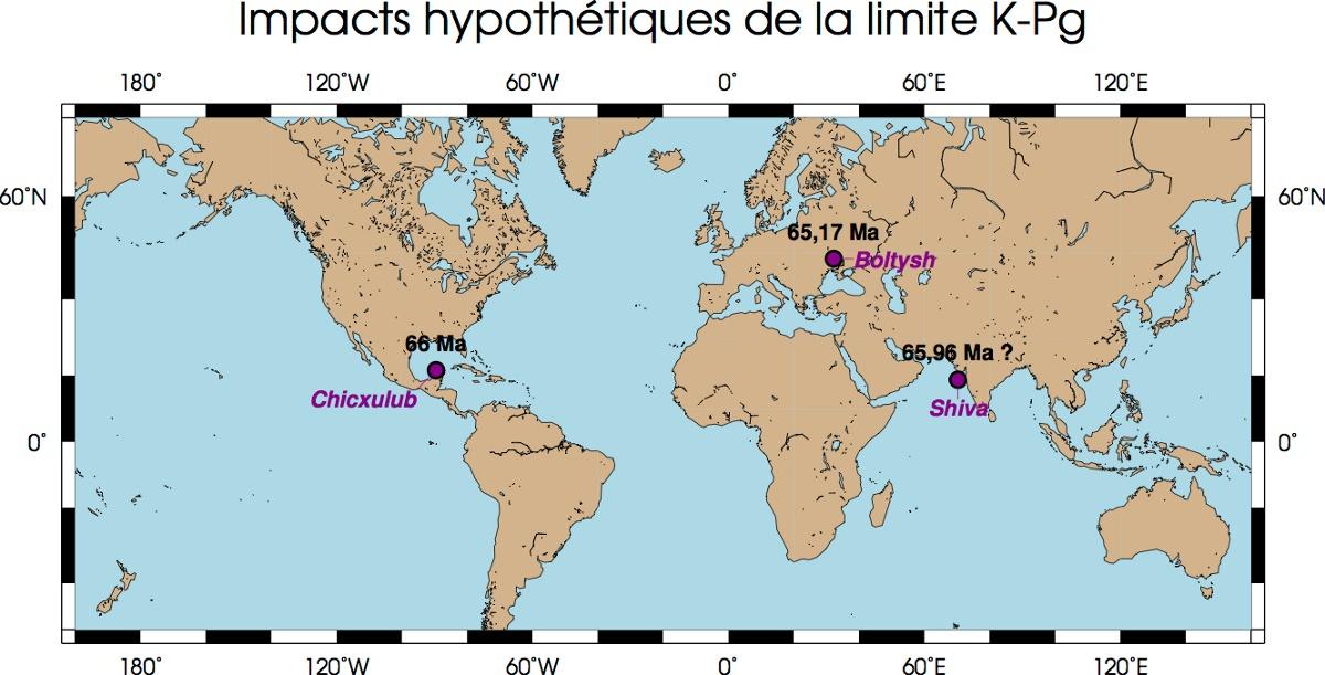 Sites d'impacts proposés au voisinage de la limite Crétacé-Paléogène