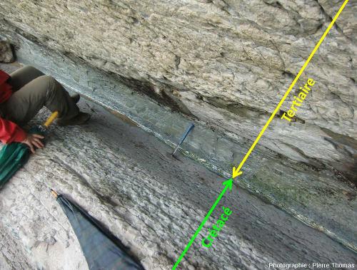 La limite K-Pg (ou limite K-T) telle qu'observable dans les flyshs de Zumaia, Espagne