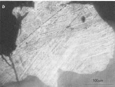 Structures lamellaires observées au microscope dans un quartz récolté dans le cratère météoritique de Manson (USA)
