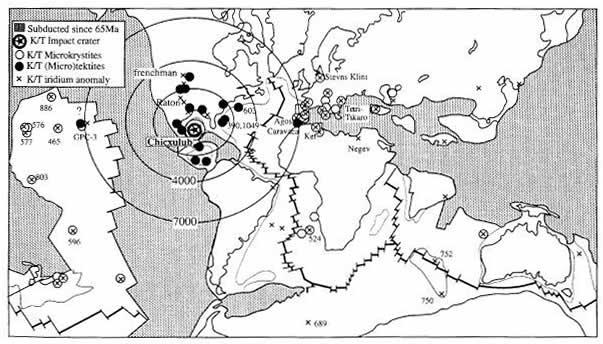 Carte de la répartition des tectites, des minéraux choqués et des anomalies en Ir au niveau des sites d'étude de la limite K-T