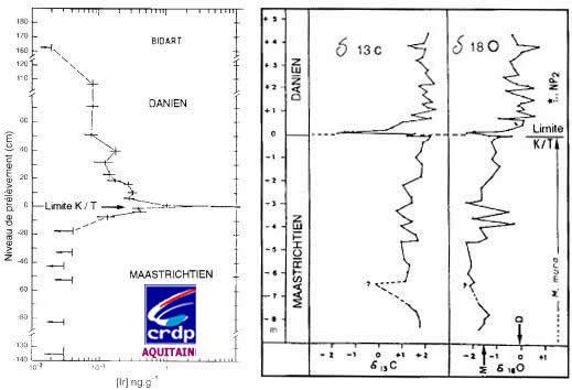 Distribution de l'iridium et évolution des rapports isotopiques du carbone et de l'oxygène au niveau de la coupe de Bidart.