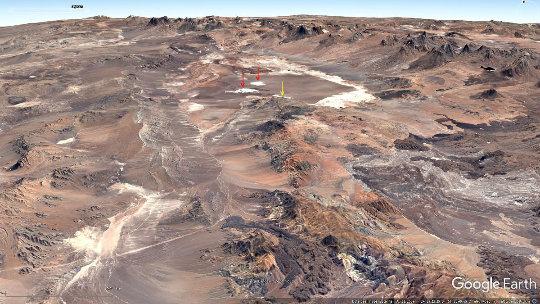Vue globale de la dépression d'Atacama (Chili), contenant le salar d'Atacama