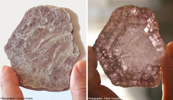 """Monocrisal de lépidolite (origine inconnue), vue """"normale"""" et par transparence"""