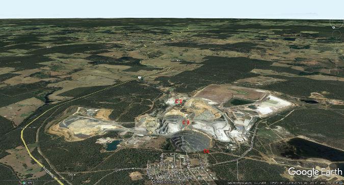 Vue aérienne des mines de Greenbushes, Australie-Occidentale