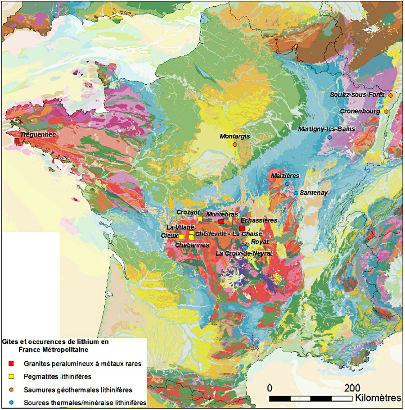Carte des indices lithinifères de France métropolitaine
