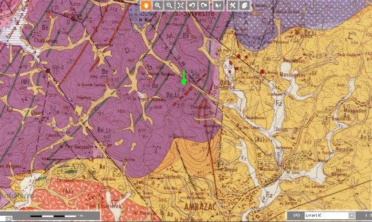 Extrait de la carte géologique d'Ambazac au 1/50000 localisant les filons de pegmatite lithinifère de Chédeville (flèche verte)