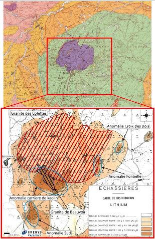 Carte géologique (Gannat 1/50000) et carte des anomalies en lithium du complexe leucogranitique d'Échassières