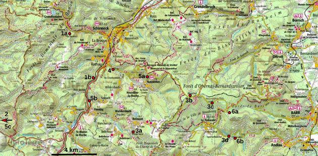 Localisation des sites décrits sur fond topographique