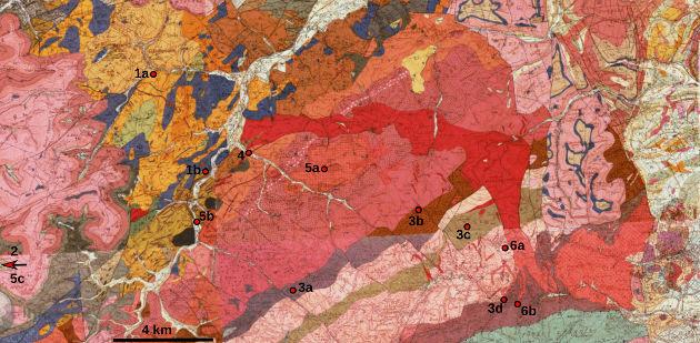 Localisation des sites décrits sur fond géologique