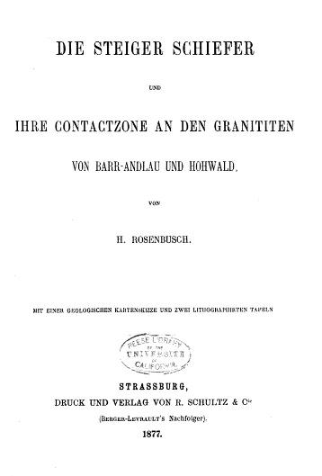 Page de garde de la publication de H. Rosenbusch, professeur à l'Université de Strasbourg, en 1877