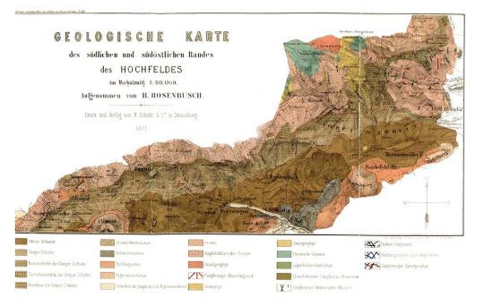 Première carte géologique de l'auréole de métamorphisme de contact des schistes de Steige par la granodiorite du Hohwald, par H. Rosenbusch (1877)